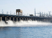 Reset of water at hidroelectric power station on the river
