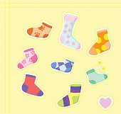 Many-coloured funny socks. Vector illustration