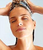 Close-up of a woman washing hair