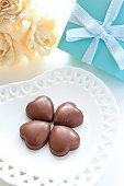 heart shaped chocolate with present