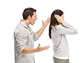 Relationship conflict - Young woman gets earful from annoyed boyfriend