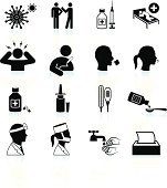 cold and flu black & white icon set