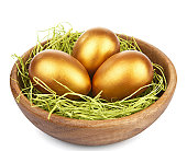 golden easter eggs in bowl isolated