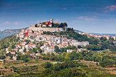 """City Motovun on hill top in Istria peninsula, Croatia"""