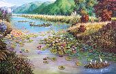 landscape of lotus swamp