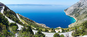 Makarska Riviera coast with Adriatic Highway (Croatia)