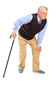 Mature man with a knee pain