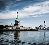 Statue of liberty with Freedom Tower