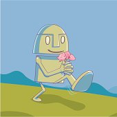Robot with flowers