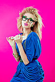 80s style girl with nailfile