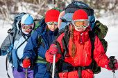 female winter hike