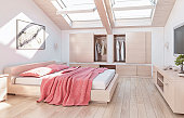 Modern and warm attic bedroom