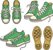 set with green sneakers isolated on white