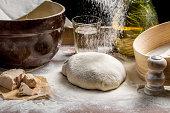 Closeup of sprinkling flour pizza dough