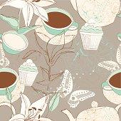 Tea time seamless background.
