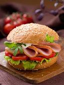 Hamburger with ham