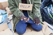Poor homeless beggar