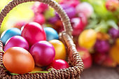 Colorful easter eggs and tulips on green nature background