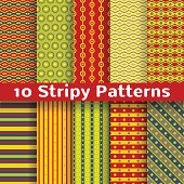 Different colorful stripy vector seamless patterns (tiling).