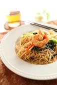 shrimp and rice noodles stir fried