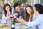Friends Toasting Wine Glass