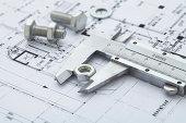 vernier calipers measuring metal nut