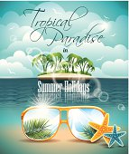Summer Holiday Flyer Design with palm trees and Paradise Island