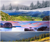 Set of the 4 seasons landscape for banners