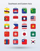 Southeast and Eastern Asia Square Icons Flags Collection