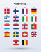 Western Europe Square Flags Collection