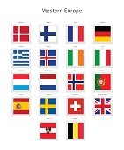 Western Europe Postage Stamp Flags Collection