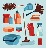Cleaning tools. Household series vector illustration.
