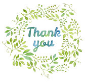 Thank You tag in leaves wreath painted with watercolor