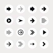 Arrow sign black pictogram white icon circle button