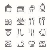 Kitchen symbol line icon set