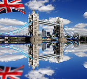 London famous Tower Bridge with flag of England