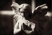 Beautiful statue of the angel praying