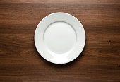 White empty plate at the table