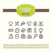 Set of hand-drawn cooking icons