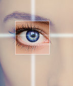 Eye technology, medicine and vision concept.