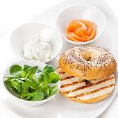 Ingredients for smoked salmon bagel