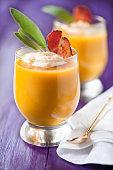 Pumpkin soup served in glasses