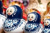 Blue and white Babushka or Matryoshka Russian nesting dolls