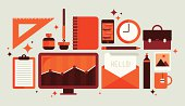 Set of office tools illustration