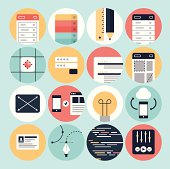 Modern web development and graphic design icons