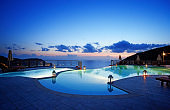 private swimming pool at dusk