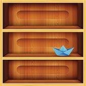 Wooden Shelf Vector Illustration