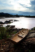 Fishing boat on Somphamit Waterfall, Southern Laos