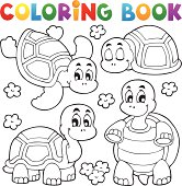 Coloring book turtle theme 1