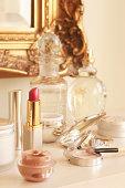 Closeup Of Lipstick And Cosmetics